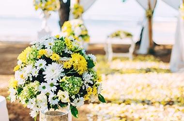 Bröllopsbukett på stranden