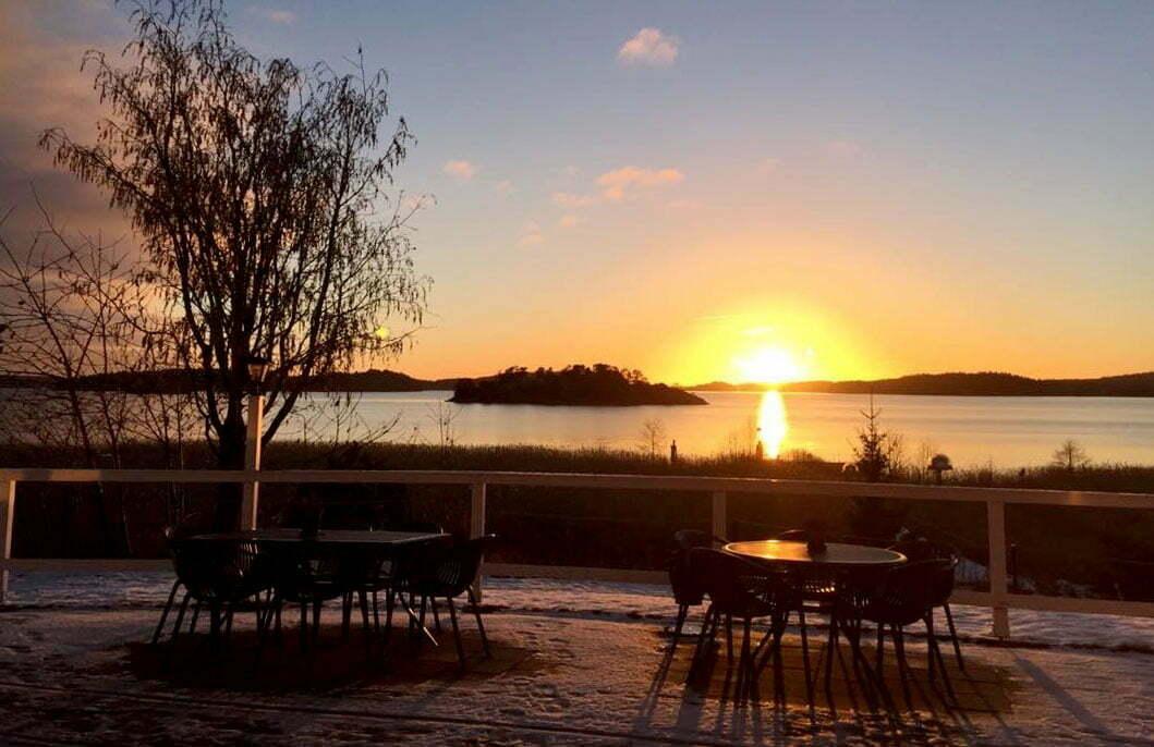 Solnedgång vintertid